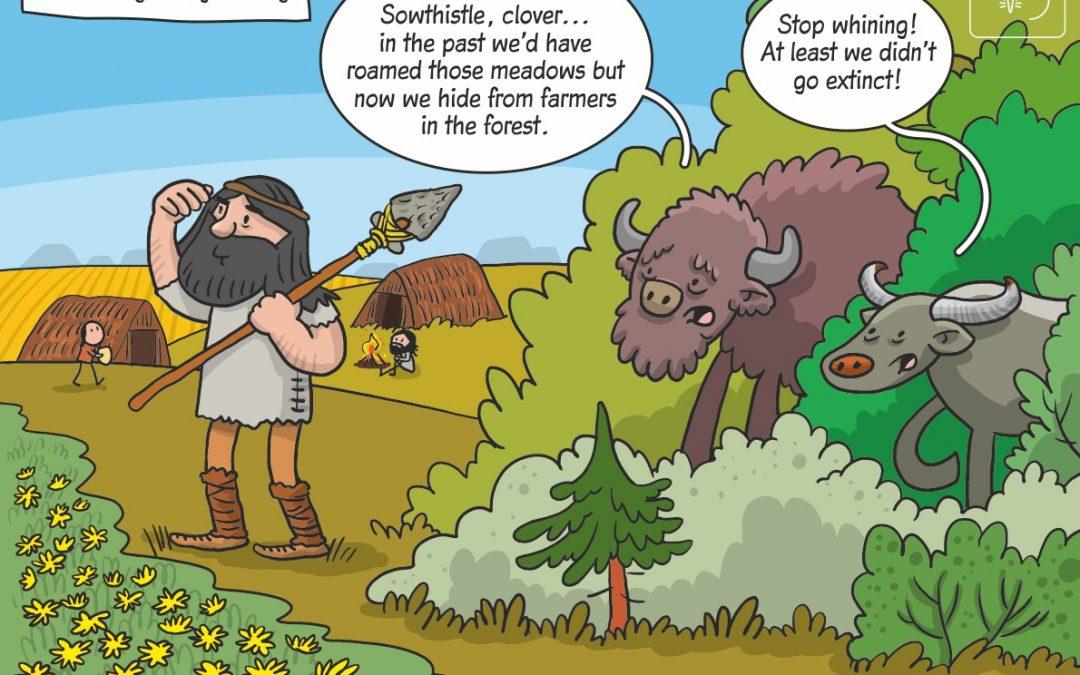 Science cartoon on habitat use by megaherbivores during the Holocene