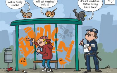 "17.02.2020 Scientific cartoon to the paper ""Graffiti saves birds"""