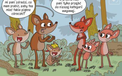 Komiks prezentujący wyniki badań nad wpływem kondycji samic jelenia na proporcję płci płodów
