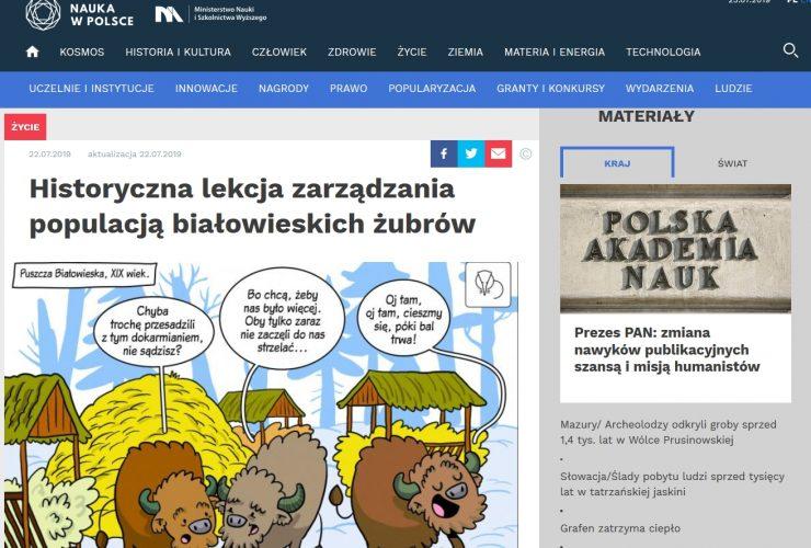 22.07.2019 Nauka w Polsce o analizie danych historycznych dotyczących żubra