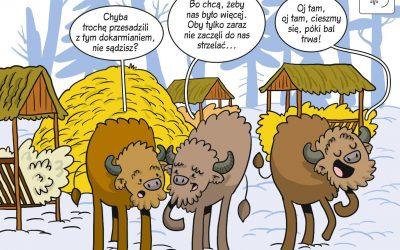 Komiks naukowy o sposobach ochrony żubra w XIX wieku