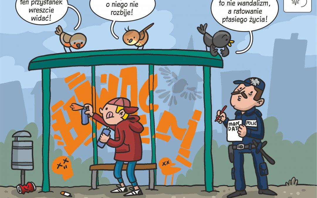"""17.02.2020 Komiks naukowy do artykułu """"Graffiti ocala ptaki"""""""