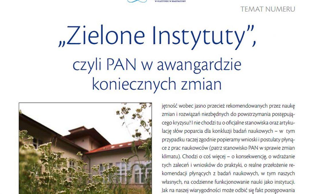 21.10.2020 – O zielonych instytutach PAN w Panoramie