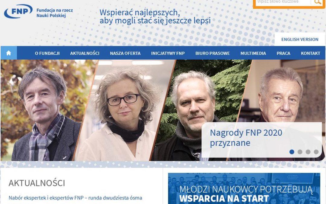06.11.2020 – Nagroda Fundacji na rzecz Nauki Polskiej dla prof. Jacka Radwana