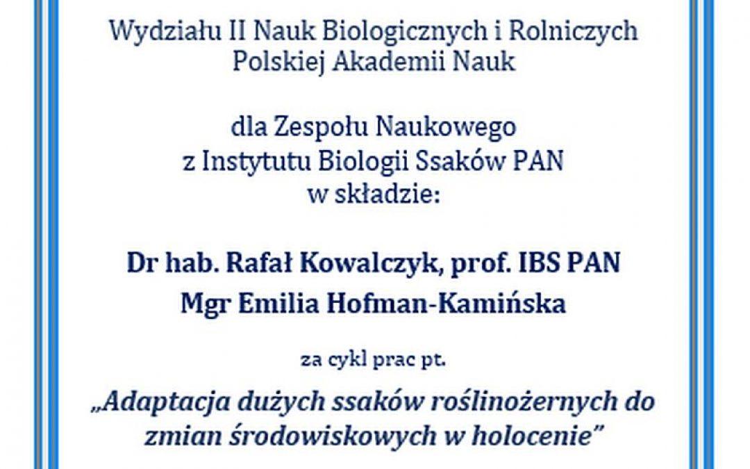 09.12.2020 – wyróżnienie Wydziału II PAN dla pracowników IBS PAN