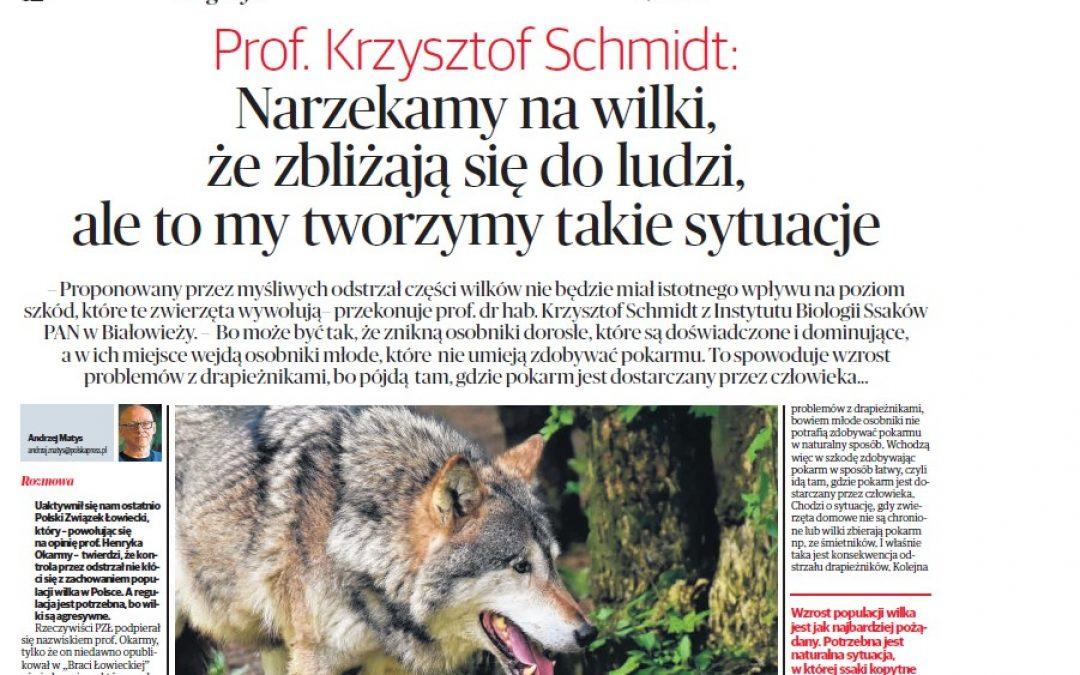 """22.03.2021 """"Dlaczego wilki zbliżają się do ludzi"""" – wywiad z prof. K. Schmidtem w Kurierze Porannym"""